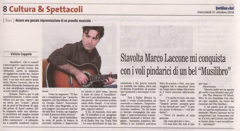 """Stavolta Marco Laccone mi conquista con i voli pindarici di un bel """"Musilibro"""" - Quotidiano di Bari, 31 ottobre 2018"""