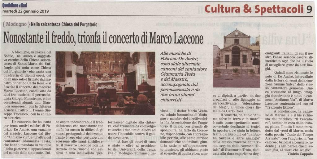 Nonostante il freddo, trionfa il concerto di Marco Laccone - Quotidiano di Bari, 22 gennaio 2019