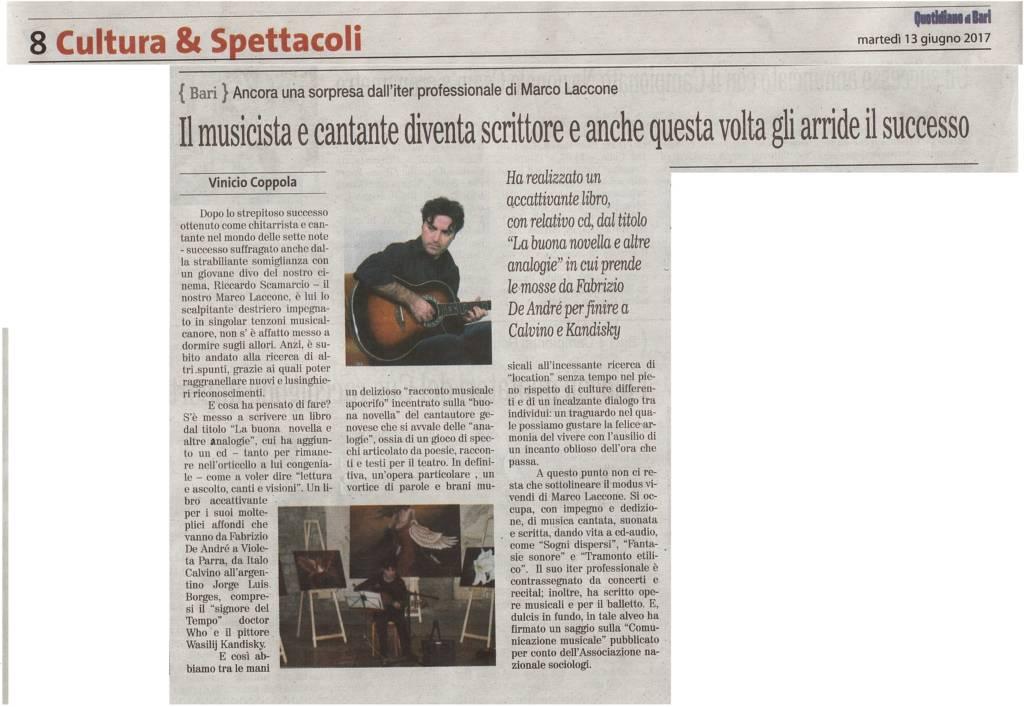 Il musicista e cantante diventa scrittore e anche questa volta gli arride il successo - Quotidiano di Bari, 13 giugno 2017