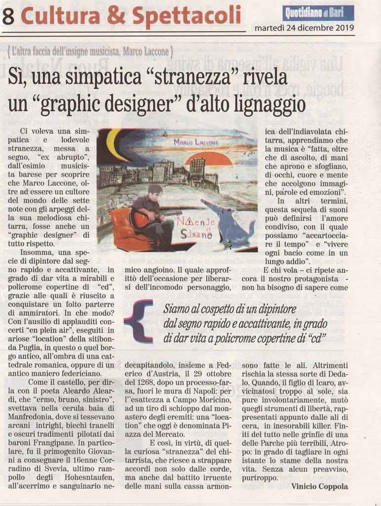 """Sì, una simpatica """"stranezza"""" rivela un """"graphic designer"""" d'alto lignaggio - Quotidiano di Bari, 24 dicembre 2019"""